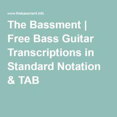 free bass guitar transcriptions in standard notation tab