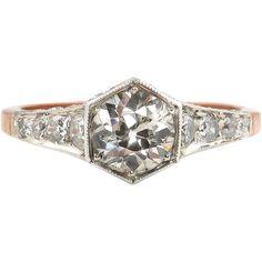 1900 Edwardian Antique 1.62ct Old European cut Diamond Engagement Anniversary Ring