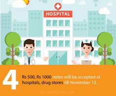 Rs 500, Rs 1000 notes will be accepted at hospitals, drug stores till November 12. — at AlphasoftZ Solutions.