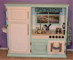 Here I present to U your 3rd Choice on How to turn Ur Old Entertainment Center Into a Fabulous Little Kitchen for UR Little Princess...