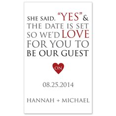 """She Said """"Yes"""" Save the Date Magnet 