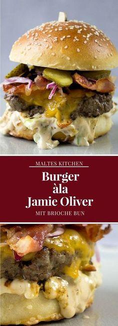 Burger ala Jamie Oliver - Recipes For Dinner Barbecue Recipes, Burger Recipes, Beef Recipes, Grill Barbecue, Barbecue Sauce, Best Burger Recipe, Grilling, Jamie Oliver Bbq, Hamburgers Gastronomiques