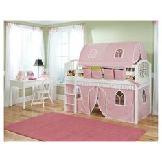 """Low Loft Bed features a classic spindle bed design. This practical loft system creates an environment where children can play, explore, sleep and dream. Pink and white fabric features lacy trim, fun castle windows/door for the bottom playhouse area. Our products are made with children's safety in mind and meet all safety requirements; ladder and guardrails included. Recommended for ages 6 and up. Fun door for access to bottom playhouse area; 34""""H. Four hanging accessor..."""