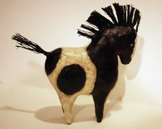 SOLD :-) Cheyenne  Paper Mache Clay Horse Sculpture by GinsLilCharacters, $85.00