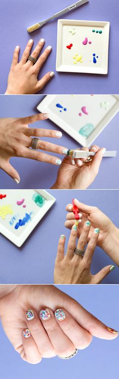 Create your own Jackson Pollock nail art look.