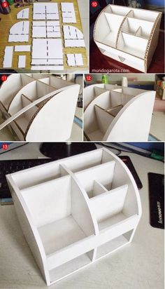 Ecco ea possiamo riciclare i cartoni, 10 Mini-Tutorial - WORLD GIRL: DIY: Erstellen Sie Ihren eigenen Make-up-Organizer - Diy Karton, Cardboard Organizer, Cardboard Camera, Make Up Organizer, Diy Desktop Organizer, Desk Organization Diy, Diy Casa, Ideias Diy, Cardboard Crafts