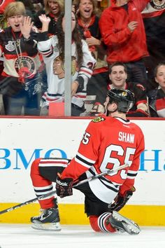 CHICAGO, IL - MAY 25: Andrew Shaw #65 of the Chicago Blackhawks reacts after scoring his second goal of the night against the Detroit Red Wings in Game Five of the Western Conference Semifinals during the 2013 Stanley Cup Playoffs at the United Center on May 25, 2013 in Chicago, Illinois. (Photo by Bill Smith/NHLI via Getty Images)