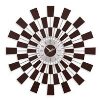 This large, modern wall clock explodes with beauty of massive proportions. Carefully crafted of espresso stained wood and steel, this contemporary timepiece adds architectural design to any fashionable room. Uses one AA battery, not included. Sunburst Clock, Cool Clocks, Mid Century Style, Dot And Bo, Vintage Furniture, Modern Furniture, House Design, Contemporary, Modern Wall