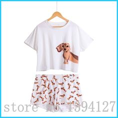 Best Seller Cute Women& Pajama Sets Dachshund Print 2 Pieces Set Suit Crop Top + Shorts Elastic Waist Loose Plus Size Price: USD Flo Jo, Crop Top Y Shorts, Crop Tops, Short Shorts, Pajamas For Teens, Pajamas Women, Tailor Made Suits, Pajama Suit, Womens Pyjama Sets