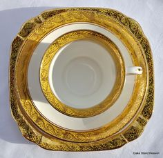 Anitque Phoenix China Teacup, Saucer and Tea Plate Trio Golden Yellow