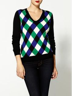 Milly Intarsia Merino Wool Jockey Sweater | Piperlime | Love the bold colors. | $174.99