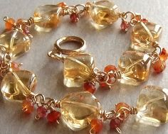Sunny Citrine Bracelet in Gold with Carnelian and Spinel, Elegant Gemstone Bracelet, Gold Beaded Jewelry. $78.00, via Etsy.