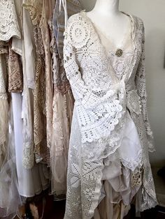 Wedding lace cardigan  long bridal coat  unique by RAWRAGSbyPK