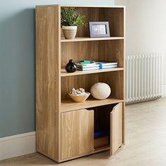 Storage Display Cabinet Bookcase Shelves Cupboard Doors Oak Finish Furniture New