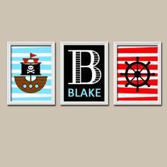 Boy Pirate Ship Nautical Ocean Wheel Red Blue Custom Monogram Name Artwork Set of 3 Trio Prints WALL Baby Decor ART Child NURSERY Picture