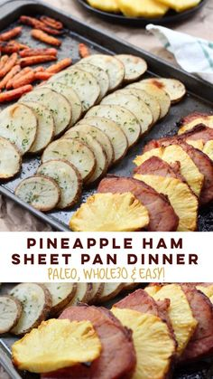 Simple and healthy pineapple ham sheet pan dinner! This easy Paleo sheet - Ham - Ideas of Ham - Simple and healthy pineapple ham sheet pan dinner! This easy Paleo sheet pan meal is family friendly and when made sugar free ham. Pork Recipes, Cooking Recipes, Healthy Recipes, Paleo Food, Paleo Diet, 30 Diet, Easy Paleo Dinner Recipes, Eating Paleo, Suppers