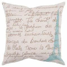 Down-filled pillow with a French script motif.  Product: PillowConstruction Material: Cotton and linen cover Color: Ivory, sea blue and umberFeatures:  Insert includedZipper enclosure