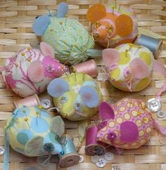 Mice Pincushion PDF Pattern - mouse seam binding ribbon retro cushion fabric felt wool pin keep doll spring decor primitive