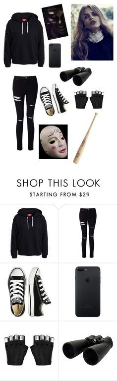 """Purge💀🔫"" by may-martinez1 ❤ liked on Polyvore featuring Miss Selfridge, Converse, Majesty Black, Celestron and Masquerade"
