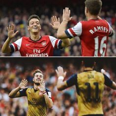 Mesut Özil and Aaron Ramsey Arsenal Players, Arsenal Fc, Aaron Ramsey, Calum Chambers, Best Football Team, Arsenal Football, Theo Walcott, Hector Bellerin, Soccer Quotes