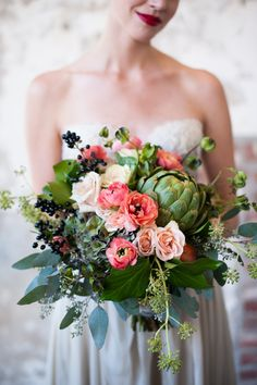 Artichoke bouquet | Sarah Box Photography