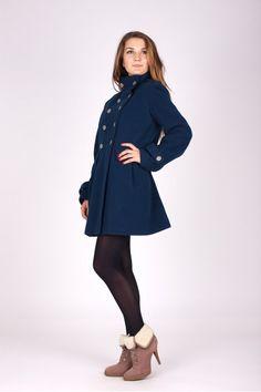 Palton Smart Look Bleumarin cu Buzunare