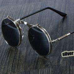 ada2eed6b26d Steampunk Sunglasses Round Metal OCULOS De Sol Women Style Retro Flip  Circular Double Metal Sun Glasses
