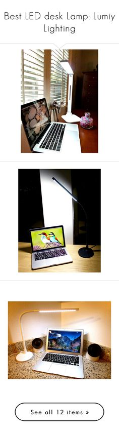 """Best LED desk Lamp: Lumiy Lighting"" by polyvore-back-to-school ❤ liked on Polyvore featuring home, lighting, led desk lamp, black lamp, black lights, touch control lamp, onyx lamp and lumiy"