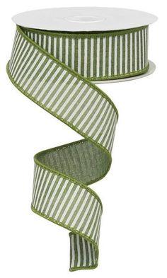 Clover Green/White Horizontal Stripe Royal Wired Ribbon, Green Ribbon, Ribbon For Wreaths, Wreath Su Wreath Supplies, Craft Supplies, Clover Green, Green Ribbon, Wired Ribbon, How To Make Wreaths, Green Stripes, Deco Mesh, Mesh Wreaths