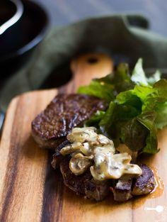 The Best Creamy Mushroom Sauce for Steaks - via @wholesomecook