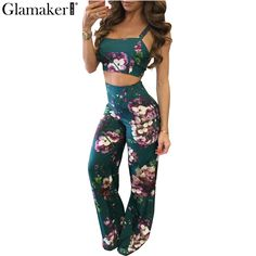 Glamaker Boho floral print jumpsuit romper Women backless crop top pants set two piece Casual summer beach rompers overalls #Affiliate