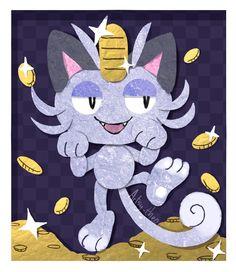 """artsy-theo: """"Pay Day """" Pokémon - Pokemon - Alolan Meowth"""