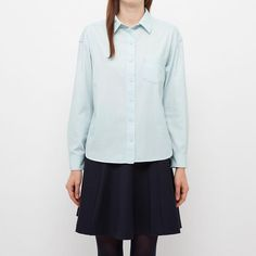 WOMEN PURE BLUE JAPAN CHAMBRAY CROPPED LONG SLEEVE SHIRT | UNIQLO