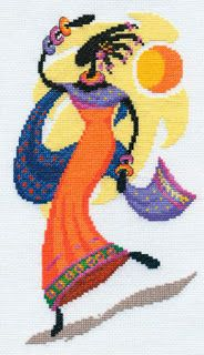Panna The Sun's Daughter - Cross Stitch Kit. Cross stitch kit featuring a dancing woman in traditional African clothing. This cross stitch kit contains presorte Modern Cross Stitch, Cross Stitch Designs, Cross Stitch Patterns, Beaded Embroidery, Cross Stitch Embroidery, Cross Stitch Pictures, Paper Crafts Origami, Sewing Art, Tapestry Crochet