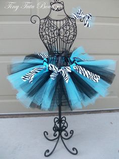 Wild Blue Zebra- Blue and Black zebra print child/baby tutu with FREE hairbow- 2T/3T, 4T/5T. $20.50, via Etsy.