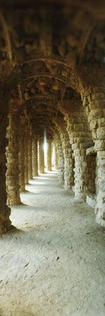 Architectural Detail of the Famous Park Designed by Spanish Architect Antonio Gaudi, Park Guell