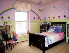 rainbow theme bedrooms-garden style girls bedroom rainbow theme