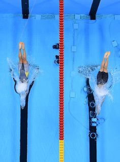 #RIO2016 Sarah Sjostrom of Sweden and Katie Ledecky of the United States compete in the Women's 200m Freestyle Final on Day 4 of the Rio 2016 Olympic Games at...