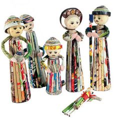 Tall Recycled Paper Nativity