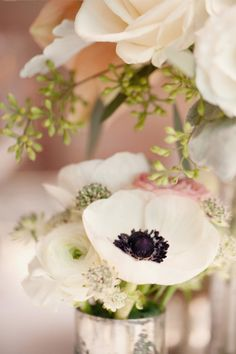Pretty Black and White softened with soft pink and green