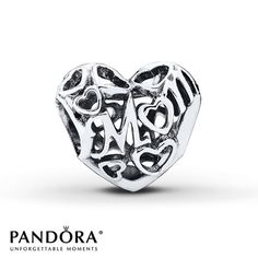 "The word ""Mom"" swirls through the center of this openwork sterling silver heart-shaped charm from the PANDORA Mother's Day 2015 collection. Heart outlines complete the look. Style # 791519."