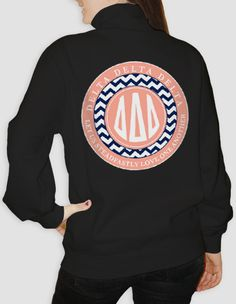 Buy one for yourself: Delta Delta Delta Monogram Steadfastly Love One Another Half Zip $38 - order open until 11/1. Once the order closes, the shirt ships directly to your door if the estimate is reached. ♥ Custom Greek Apparel & Sorority Clothes