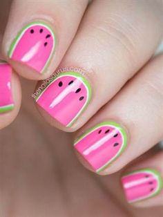 What do you get when you combine bright colors, summer, and a steady hand? The cutest watermelon nail art I've ever seen! See more of Sammy's nail art at T Uk Nails, Hair And Nails, Nail Art Designs, Nail Designs For Kids, Watermelon Nail Art, Watermelon Nail Designs, Sweet Watermelon, Watermelon Slices, Nail Art For Kids