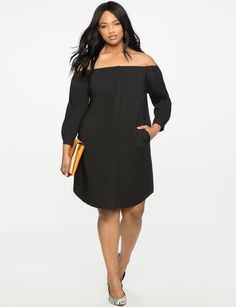 Off the Shoulder Shirt Dress TOTALLY BLACK