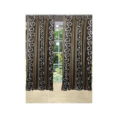 Mogul Interior Spanish Scrolls Curtain Brown Window Panel Brown, Tab... (4,195 INR) via Polyvore featuring home, home decor, window treatments, curtains, indian home decor, tab top draperies, floral curtain panels, flowered curtains and tab top curtains