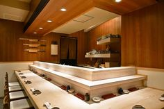 Umi in Gaienmae, Tokyo has been chosen as a star restaurant for 6 years in a row. Many of the Japanese celebrities have chosen this place as their favorite sushi restaurant. Its delicacies come from all sides of Japan. Sushi Bar Design, Sushi Counter, Tokyo Restaurant, Counter Design, Sushi Restaurants, Japan Design, Dining Area, Japanese, Interior Design