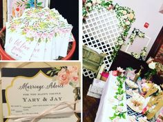Pretty in Navy and Gold Floral Bridal Shower #shower #bridal #party #vintage