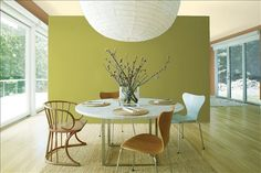 Look at the paint color combination I created with Benjamin Moore. Via @benjamin_moore. Background Wall: Split Pea 2146-30; Side Wall: Byzantine Gold 1099; Ceiling: Natural Beech 253.