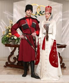 Circassian bride and groom, southern part of Russia