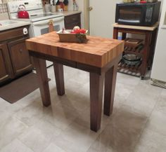 Butcher block Kitchen Island is the butcher block with on the kitchen island. So there will be two side of the kitchen island like the one is for the island top and the other is for the butcher block. Butcher Block Island, Butcher Block Kitchen, Kitchen Island Cart, Kitchen Islands, Galley Kitchen Design, Wooden Tops, Kitchen Equipment, Your Perfect, Made In America